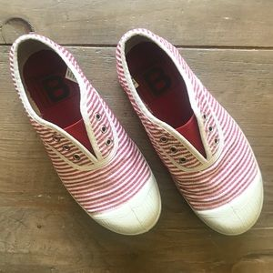 Bensimon red and white stripes shoes kid size 13